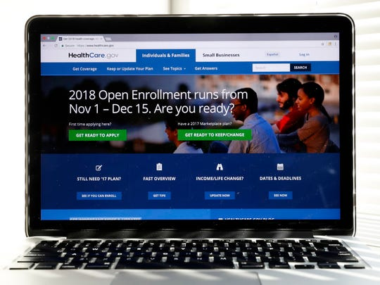 The Healthcare.gov website is shown on a computer screen. Open enrollment for health plans sold directly to individuals and families began Nov. 1 and ends Dec. 15.
