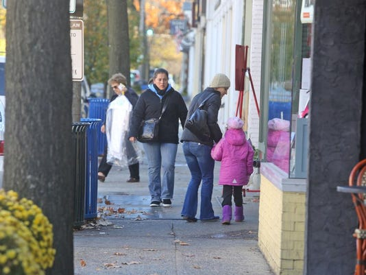 Shoppers in downtown Rye