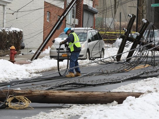 Con Edison workers begin their work March 8, 2018,