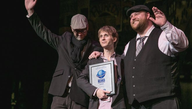 The Noah Wotherspoon Band, from Cincinnati, placed second at the International Blues Challenge in Memphis last week. From left to right: Brian Aylor, Noah Wotherspoon and Rob Thaxton.