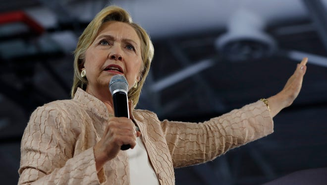 Democratic presidential candidate Hillary Clinton speaks at campaign event in Cleveland on Aug. 17, 2016.