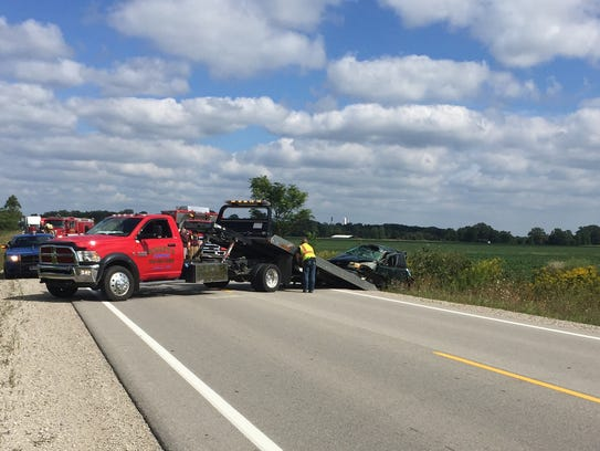 A vehicle is removed from a ditch along Fred Moore