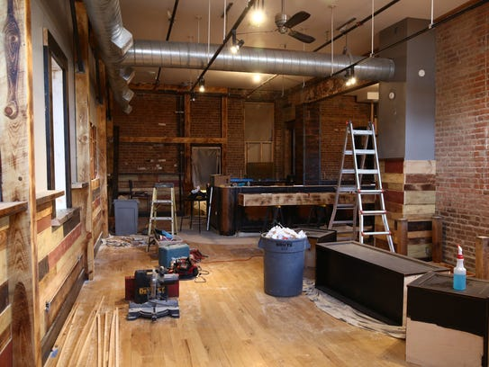 Construction inside Melzingah Tap House in Beacon on