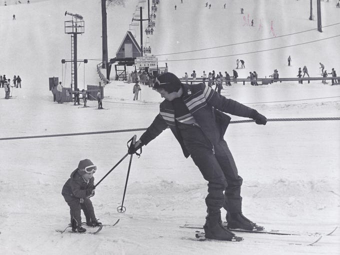 An undated photo of skiers at Mt. Brighton shows a