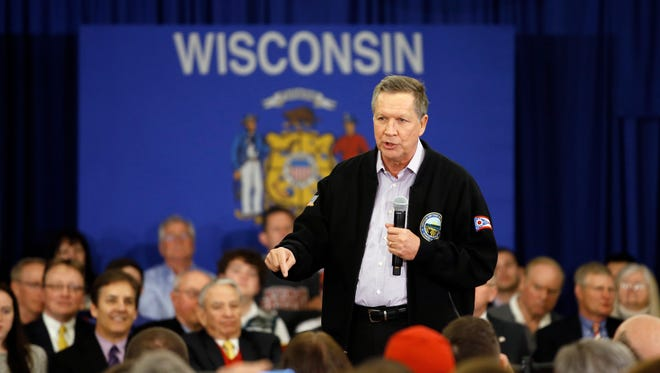 Republican presidential candidate Ohio Gov. John Kasich speaks at a campaign event March 23, 2016, in Wauwatosa, Wis.