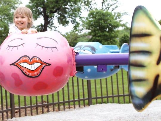 Taylor Russell,3, of Cedar Rapids enjoys herself on