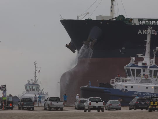Large cargo tankers, such as the Anne, which docked in Ingleside on a trial run May 26, 2017, could become more commonplace at the Port of Corpus Christi, if an export terminal port is constructed at Harbor Island.