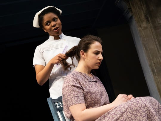 """Mayah Wells, left, and Stephanie Moreno star in Binghamton University production of """"Castle on the Hill."""""""