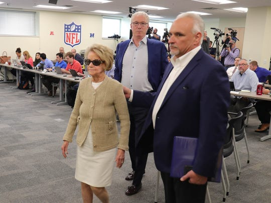 Left to right: Lions owner Martha Firestone Ford, president Rod Wood and team historian Bill Keenist on May 10, 2018, in Allen Park.