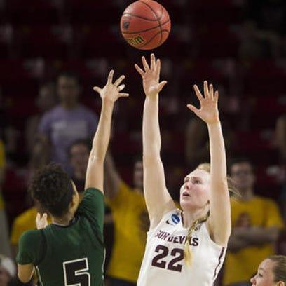 ASU center Quinn Dornstauder (22) had a double-double