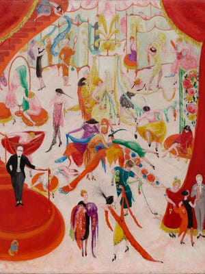 'Spring Sale at Bendel's' is an iconic 1921 work by Florine Stettheimer, American, 1871 - 1944. It is an oil painting on canvas.