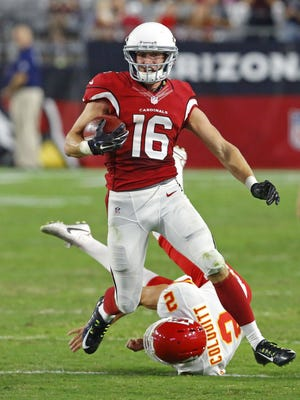 Arizona Cardinals wide receiver Jaxon Shipley (16) is forced out of bounds by Kansas City Chiefs punter Dustin Colquitt (2) on a kick return in the 2nd half of their NFL game Saturday, August 15, 2015 in Glendale, Ariz.