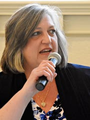 Democratic candidate for Lieutenant Governor Kathi Cozzone during the democratic debate for three contested Democratic primary races hosted by the York County Young Democrats at Marketview Arts in York City, Thursday, April 26, 2018. Dawn J. Sagert photo