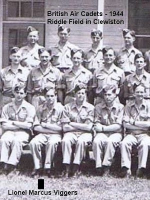 Lionel M. Viggers was photographed (seated, second from the left) with fellow British flying cadets in 1944 in Clewiston.
