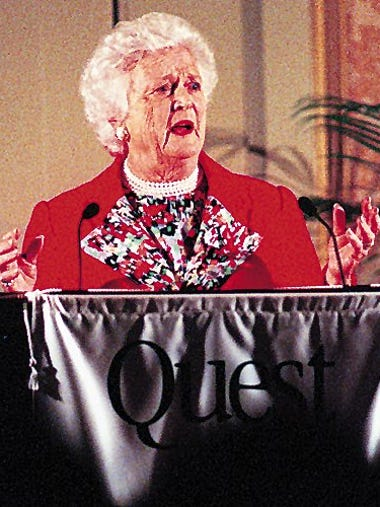 Former first lady Barbara Bush speaks to a Quest '97