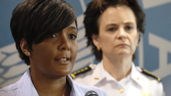 May 30, 2020 -  Atlanta -  Atlanta Mayor Keisha Lance Bottoms announced a 9pm curfew as protests continued for a second day.  Protests over the death of George Floyd in Minneapolis police custody spread around the United States on Saturday, as his case renewed anger about others involving African Americans, police and race relations.    Ben Gray for the Atlanta Journal Constitution