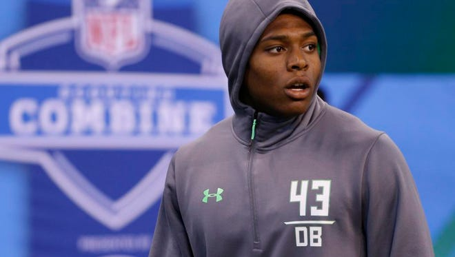 Florida State defensive back Jalen Ramsey looks on during the NFL scouting combine in Indianapolis on Monday.