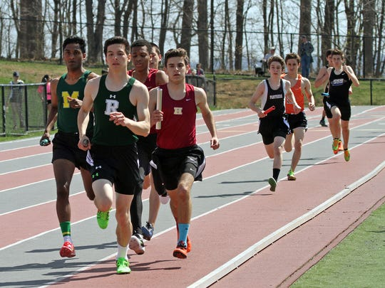 This is the first leg of the boys 4x800, at the Somerset County Track Relays at Ridge High School in the Basking Ridge section of Bernards.