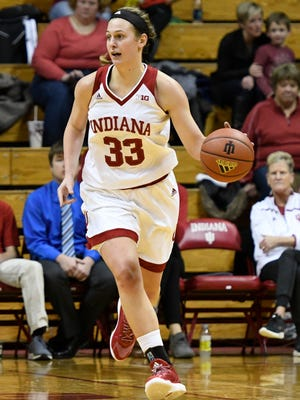 Indiana's Amanda Cahill handles the basketball against Oakland on December 7.