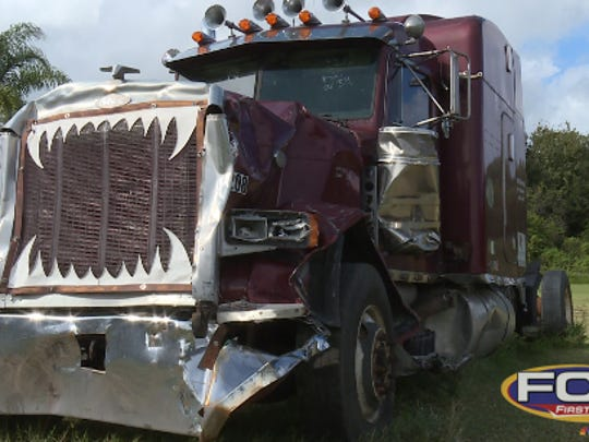 The tractor-trailer involved in the wreck