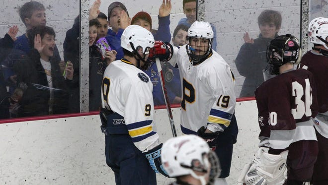 Pelham's Ben Hurd (9) and Stefan Miklakos (19) during a game with Scarsdale at the Ice Hutch Jan. 12, 2017.