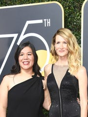 BEVERLY HILLS, CA - JANUARY 07:  Activist Monica Ramirez and Laura Dern attend The 75th Annual Golden Globe Awards at The Beverly Hilton Hotel on January 7, 2018 in Beverly Hills, California.