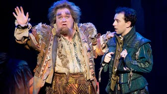 """Blake Hammond, left, as Thomas Nostradamus and Rob McClure as Nick Bottom in the national tour of """"Something Rotten!"""" The musical, which was nominated for 10 Tony Awards, is at the Aronoff Center through March 5 as part of the Broadway in Cincinnati series."""