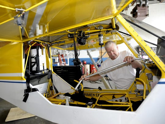 Rob Edmunds of Ortonville builds and flies light sport aircraft at the Lapeer Airport in Mayfield Township.