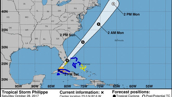 Forecast for Tropical Storm Philippe as of 5 p.m. Saturday, Oct. 28, 2017.