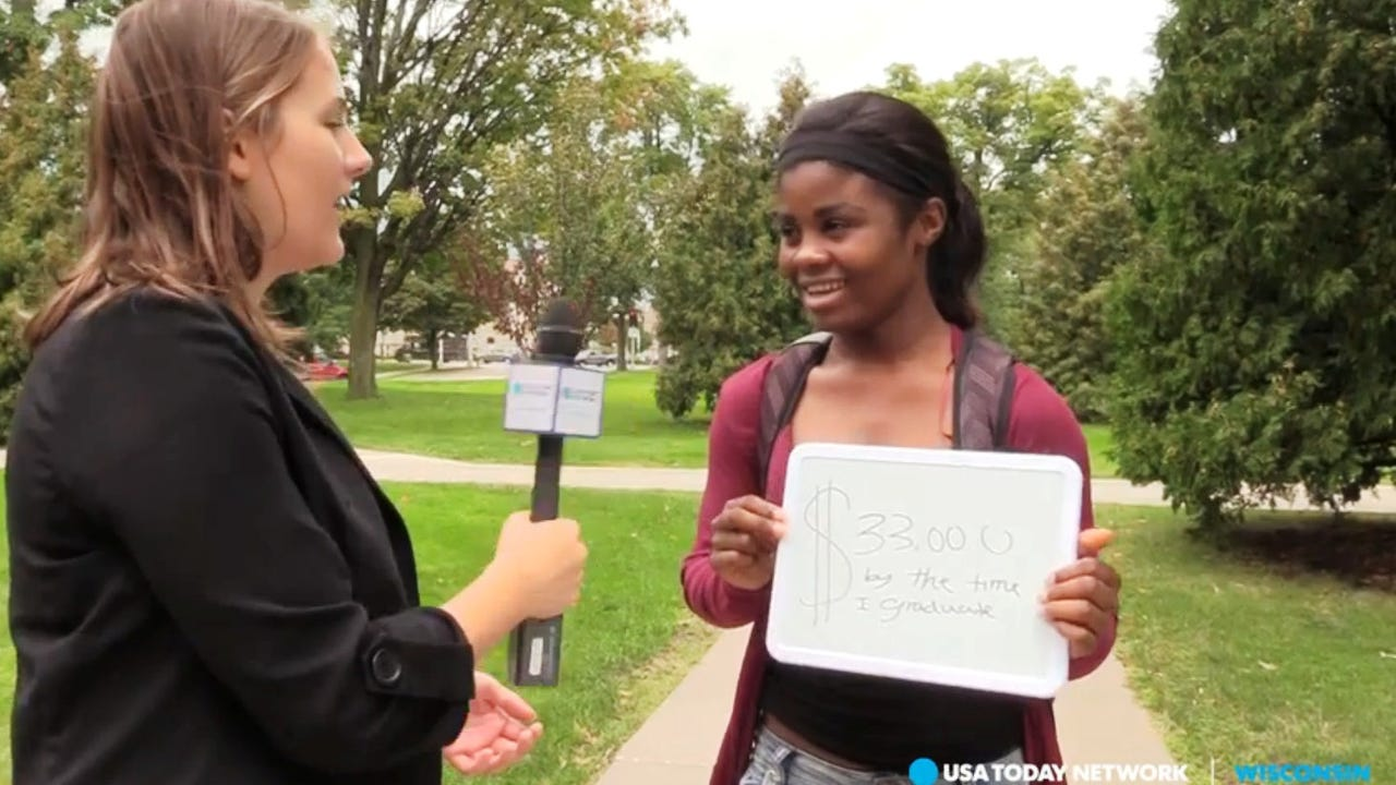 Journalist Noell Dickmann talked to students at Lawrence University in Appleton about student debt.