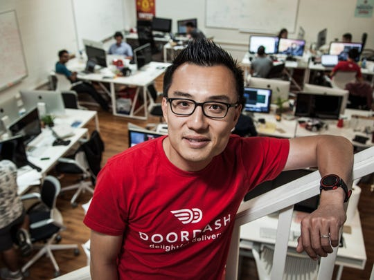 DoorDash CEO and co-founder Tony Xu, shown at the company's offices in Palo Alto, California.