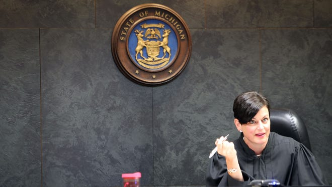 Oakland County Family Court Judge Lisa Gorcyca listens during a July 20 proceeding in the court battle regarding parental visits between Maya Eibschitz-Tsimhoni and her ex-husband Omer Tsimhoni of their children.