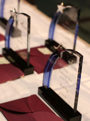 Awards await recipients at the Chamber Champions Gala Tuesday February 21, 2017 at the Osthoff Resort in Elkhart Lake.