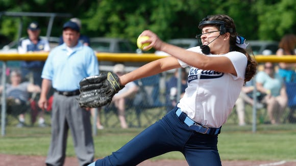 Westlake's Ali Brunetto pitches during Saturday's class Class B semi-final game versus Susquehanna Valley at the NYSPHSAA Softball Championships in Ganesvoort on June 9, 2018.