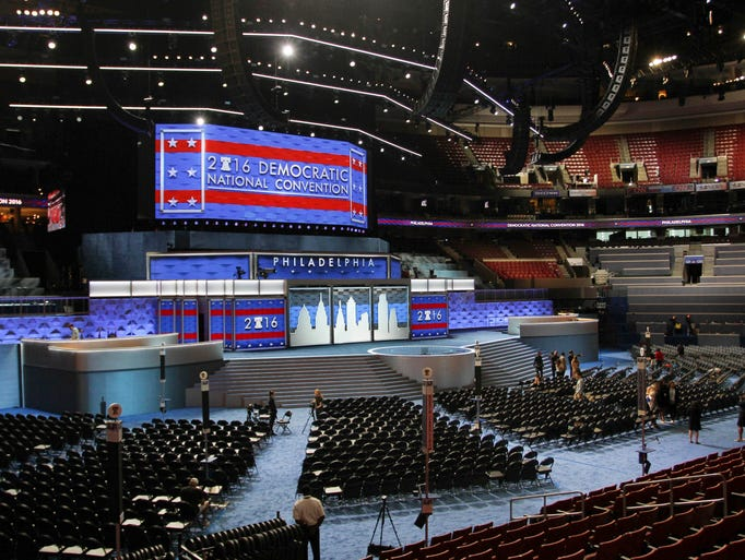 The stage stands ready for the start of the Democratic