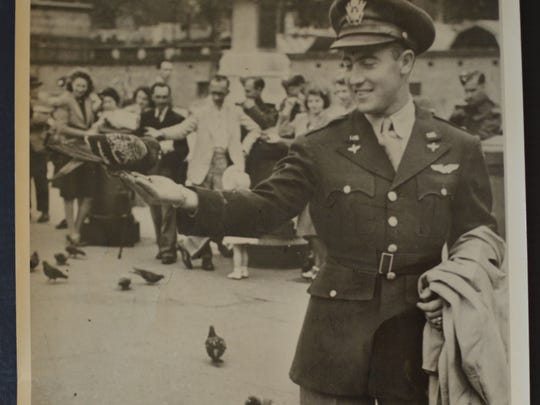 Bob Laudie, a captain with the Army Air Forces, is pictured in London during World War II.