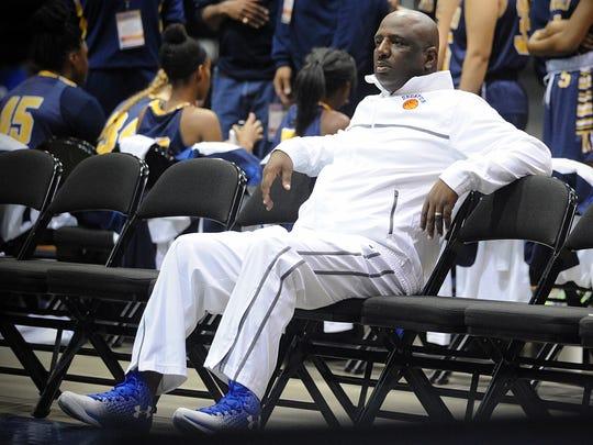 "Stephen Decatur head coach Byron ""B.J."" Johnson watches"