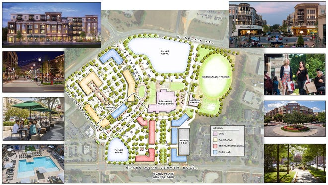 A drawing shows the vision for Columbia County's Evans Town Center, a high-density, mixed-use neighborhood built around the future performing arts center in the center of the map. An Augusta-based developer is moving forward on plans for a 301-unit apartment complex on the tract formerly occupied by the Marshall Square retirement community.