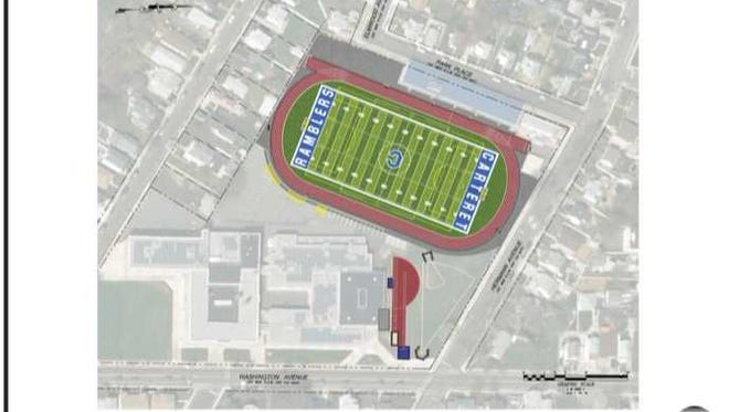 Aerial view of design for of what Carteret's renovated athletic field and running track will look like.