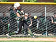 James Buchanan's Alyssa Blair gets a hit during a District 3 Class 4A softball semifinal game against Eastern York on Wednesday, May 31, 2017 in Newville. The Golden Knights won 2-1 in eight innings.