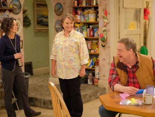 Sara Gilbert, left, Roseanne Barr and John Goodman