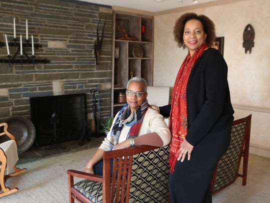 Nora Davis Day and her sister Hasna Muhammad, daughters of Ossie Davis and Ruby Dee are pictured in the living room in the 5-bedroom, 5-bath Mediterranean home for sale in New Rochelle photographed Nov. 24, 2015.