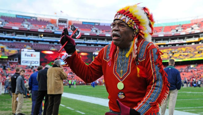 Washington Redskins fan Chief Zee on the field before NFC Wild Card playoff game against the Seattle Seahawks at FedEx Field.