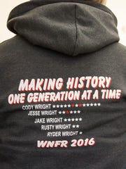 Milford City Recorder Monica Seifers wears a sweatshirt