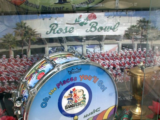 Some momentos of the Jackson Memorial High School's trip to the Rose Bowl are diplayed in the band room.