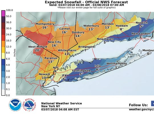 The Lower Hudson Valley could get blanketed by up to 16 inches of snow on Wednesday.