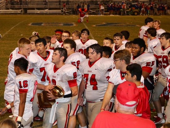 North Pontotoc celebrates after beating South Pontotoc.