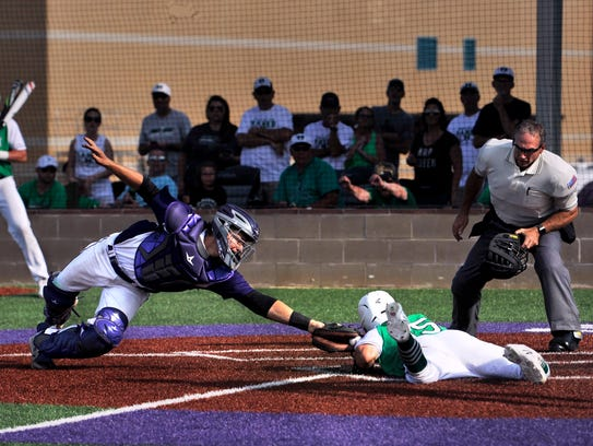 Wylie catcher Caleb Munton tags out Iowa Park's Noah