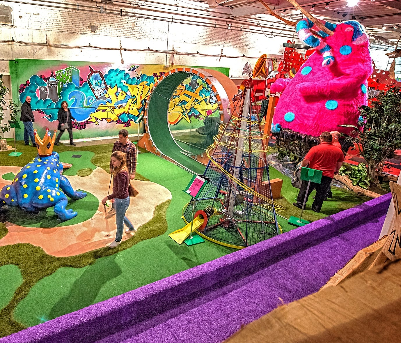 The colorful, 18-hole, artist-designed mini golf course at Can Can Wonderland in St. Paul, Minnesota.