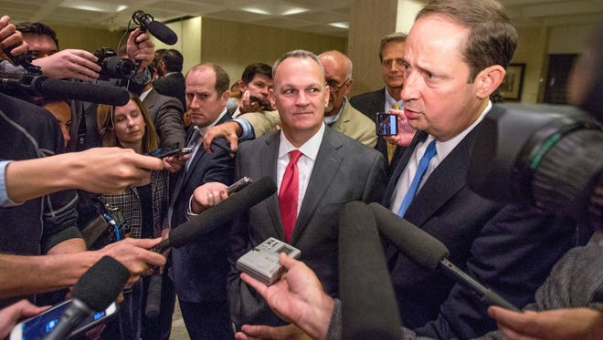 Florida House Speaker Richard Corcoran, left, and Senate President Joe Negron talk with reporters after the end of the 2017 Legislative Session.